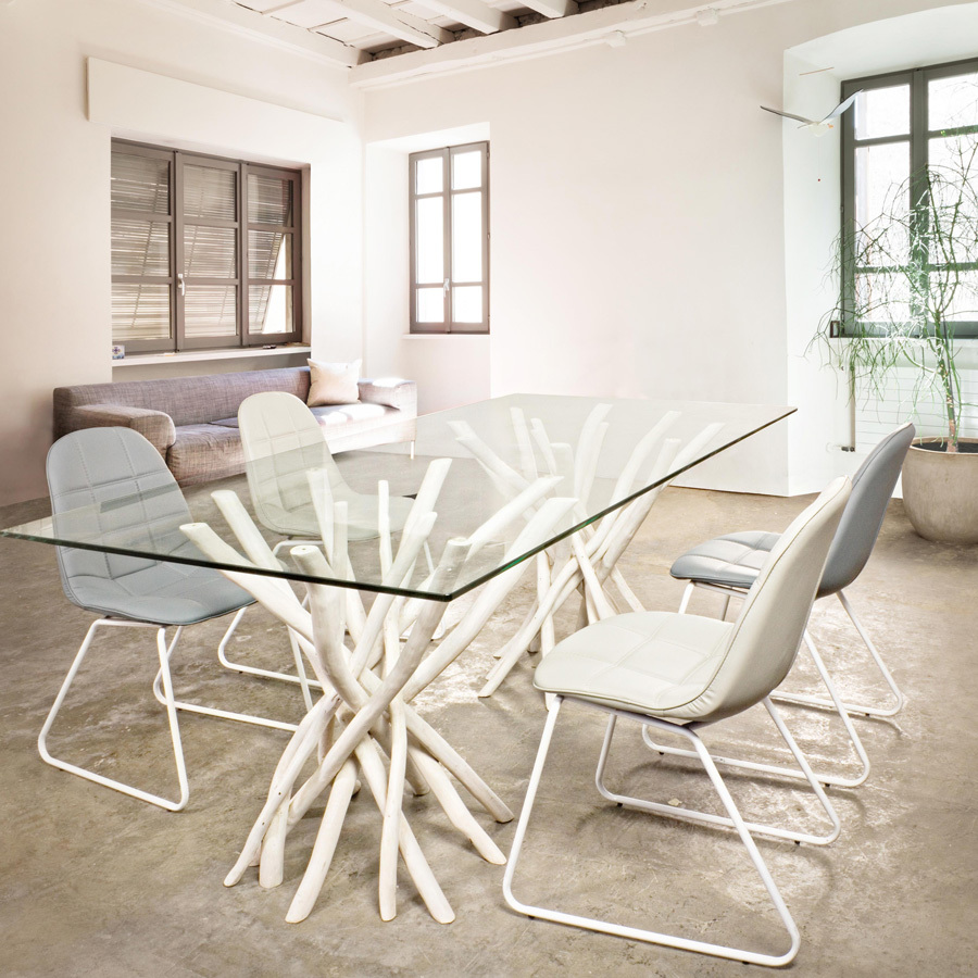 Photos 6: Bizzotto Chair in metal and eco-leather - white 0731653