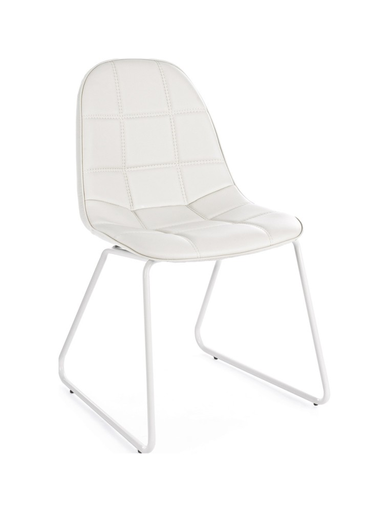 Photos 1: Bizzotto Chair in metal and eco-leather - white 0731653