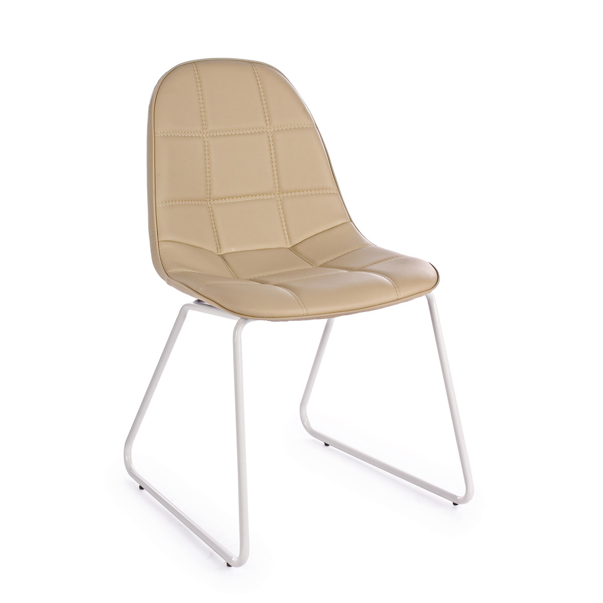 Photos 1: Bizzotto Chair in metal and eco-leather - tortora 0731656