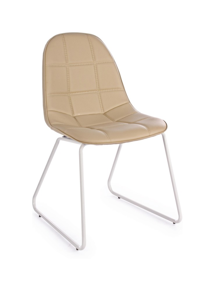 Photos 1: Bizzotto 0731656 Matt Chair in metal and eco-leather - tortora