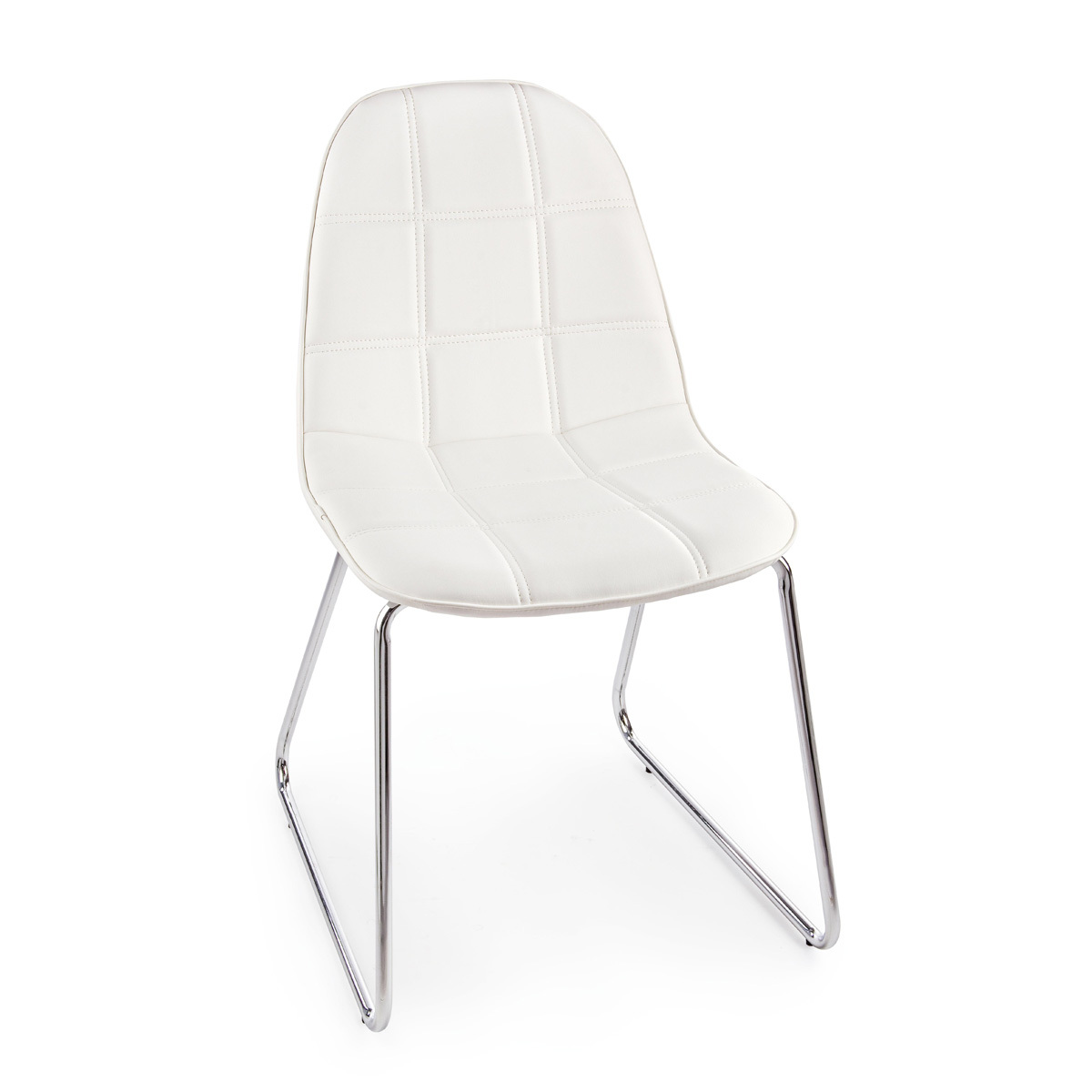 Photos 1: Bizzotto Chair in metal and eco-leather - white 0731662