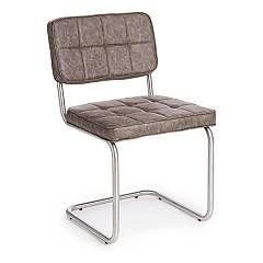 Bizzotto 0731676 Chair in metal and eco-leather - grigio vintage Balzac