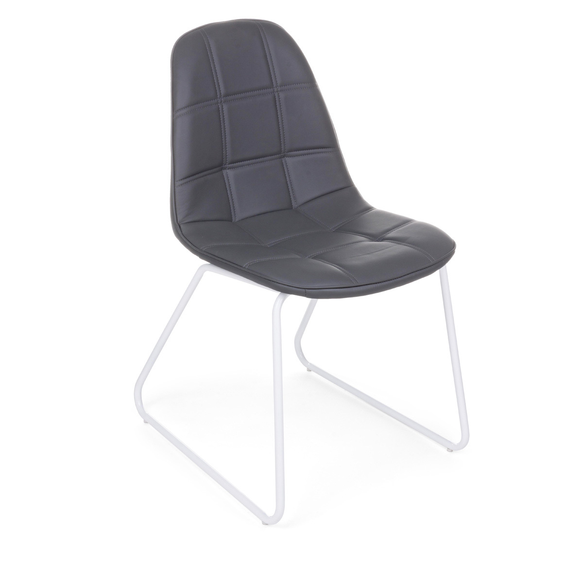 Photos 1: Bizzotto Chair in metal and eco-leather - anthracite 0731709