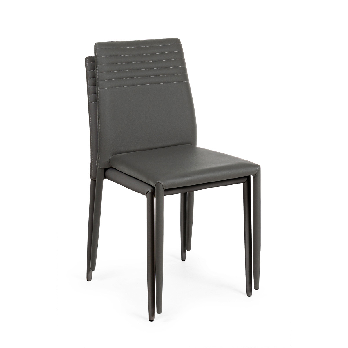 Photos 4: Bizzotto Chair in metal and eco-leather - anthracite 0731797