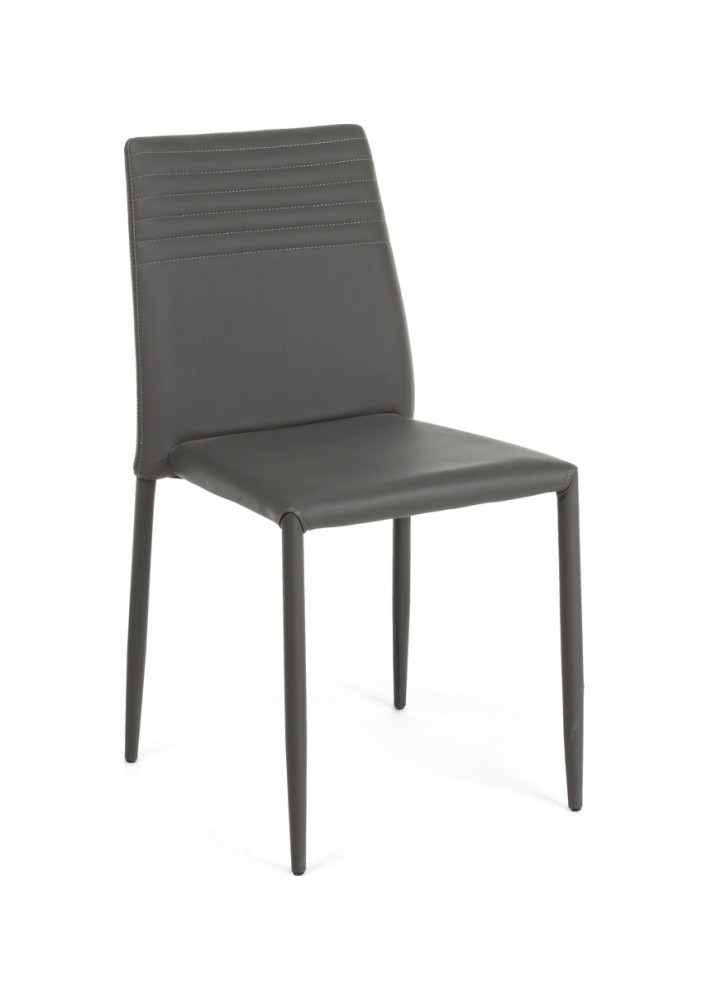 Photos 1: Bizzotto Chair in metal and eco-leather - anthracite 0731797