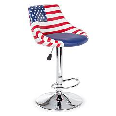 Bizzotto 5731371 Stool in metal and eco-leather - usa Drapeau