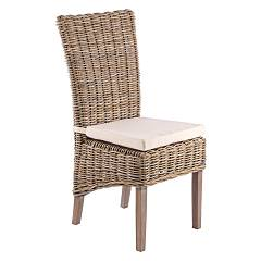 Bizzotto 0671130 Chair in wood with intreccio with cushion Luzia