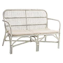 Bizzotto 0671454 Sofa 2 places in rattan - white with cushions Rosita