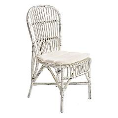 Bizzotto 0671460 Rattan chair with cushion - white Samara