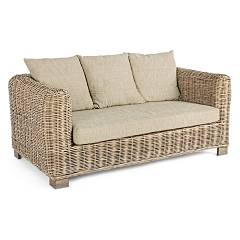Bizzotto 0671631 Sofa 2 places in wood and rattan with cushions Fortaleza