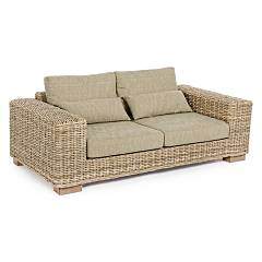 Bizzotto 0671638 Sofa 2 places in wood and kubu with cushions Leandro