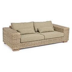 Bizzotto 0671639 Sofa 3 places in wood and kubu with cushions Leandro