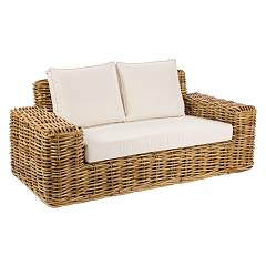 Bizzotto 0671643 Sofa 2 places in wood and rattan with cushions Tulum