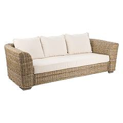 Bizzotto 0671647 Sofa 3 places in wood and kubu with cushions Cancun
