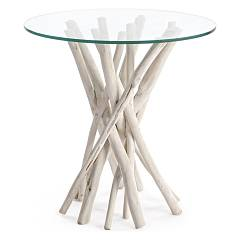 Bizzotto 0680403 Wood and glass coffee table d. 40 Sahel