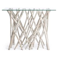 Bizzotto 0680405 - Sahel Console, fixed, wood and glass l. 100 x 40