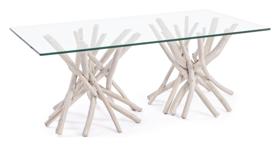 Photos 1: Bizzotto 0680408 Sahel Wood and glass table l. 110 x 60