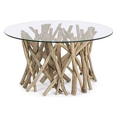 Bizzotto 0680413 Wood and glass coffee table d. 80 Samira