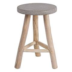 Bizzotto 0680422 - Rim Stool in wood and concrete