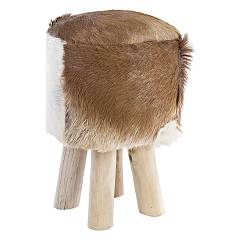 Bizzotto 0680427 Stool in wood and leather d. 30 Malak