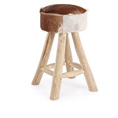 Bizzotto 0680428 Stool in wood and leather d. 30 Malak