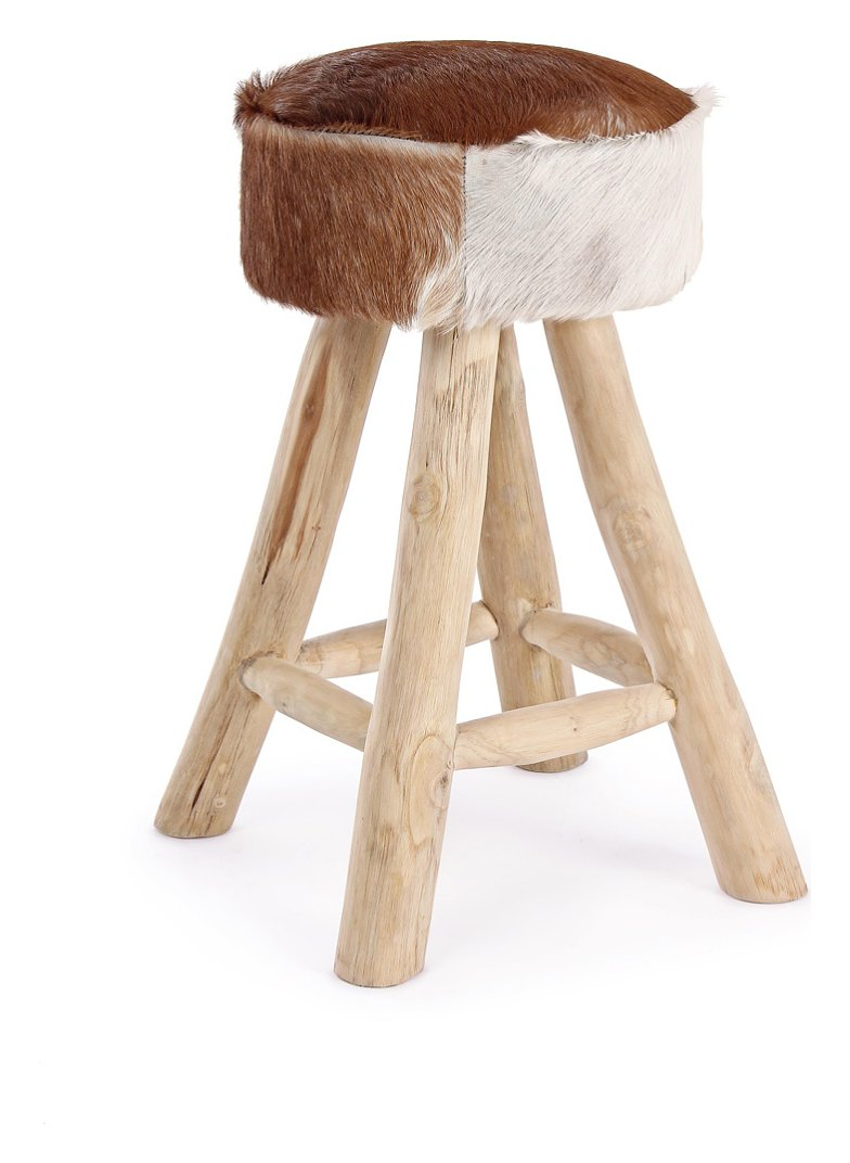 Photos 1: Bizzotto 0680428 Malak Stool in wood and leather d. 30