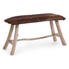 Bizzotto 0680429 - Malak Bench in wood and leather l. 80