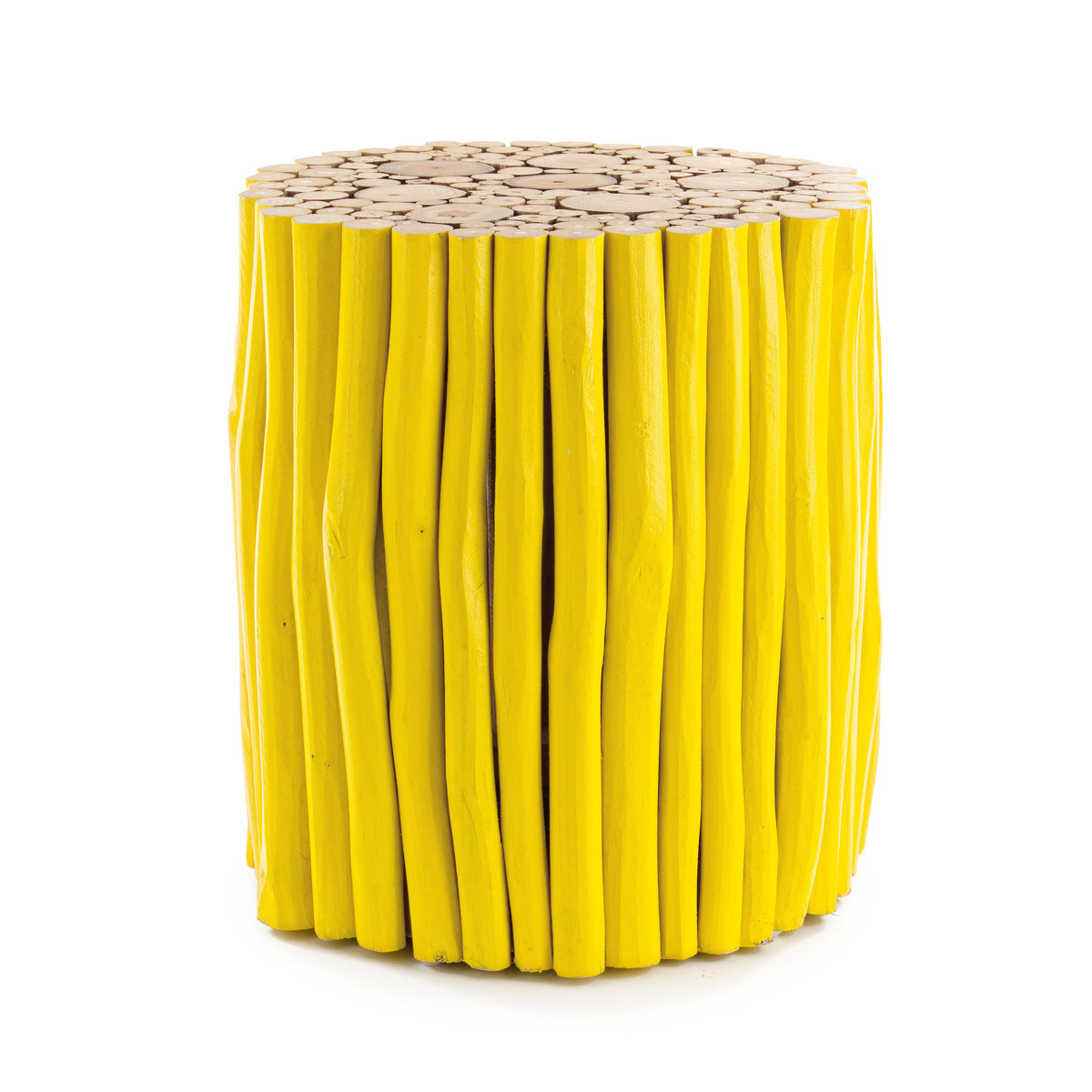 Photos 1: Bizzotto Wooden table d. 38 - yellow 0680441