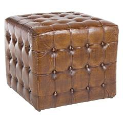 Bizzotto 0720032 Pouf in real leather l. 52 x 52 - two Sanpark