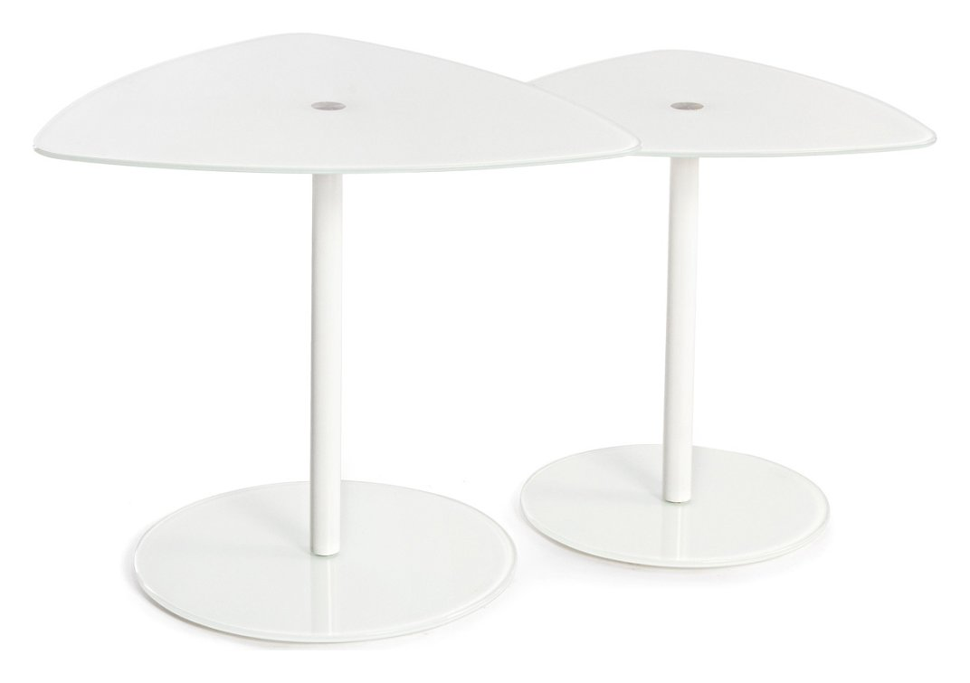 Photos 1: Bizzotto 0731959 Stone Set 2 tables in glass and metal - white