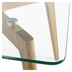 Photos 3: Bizzotto 0731993 Alpine Table in glass and wood l. 120 x 60
