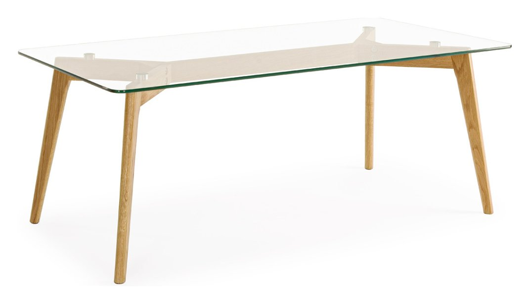 Photos 1: Bizzotto 0731993 Alpine Table in glass and wood l. 120 x 60