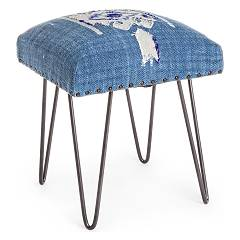 Bizzotto 0740130 - Malila Stool in metal and fabric - blue