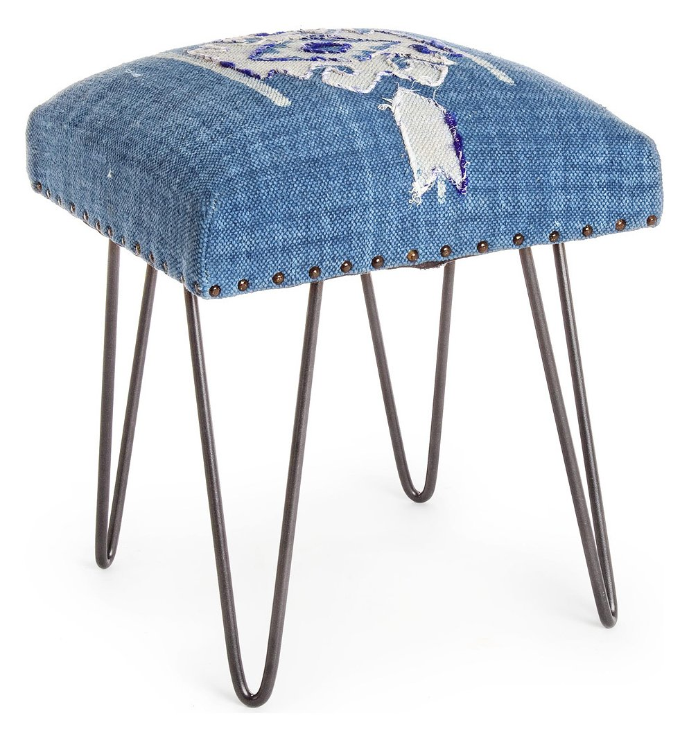 Photos 1: Bizzotto 0740130 Malila Stool in metal and fabric - blue