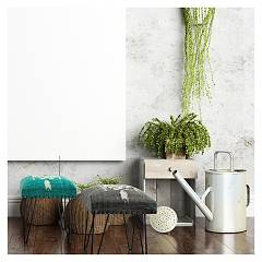 Photos 3: Bizzotto 0740131 Malila Stool in metal and fabric - green
