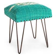 Bizzotto 0740131 Stool in metal and fabric - green Malila