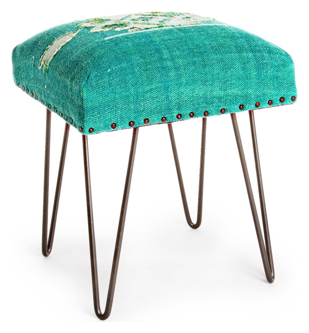Photos 1: Bizzotto 0740131 Malila Stool in metal and fabric - green