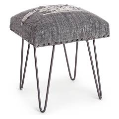 Bizzotto 0740132 Stool in metal and fabric - gray Malila