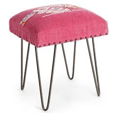 Bizzotto 0740133 Stool in metal and fabric - red Malila