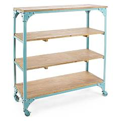 Bizzotto 0740155 Metal and wood library - light blue with wheels Gustav
