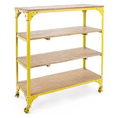 Bizzotto 0740156 Metal and wood library - yellow with wheels Gustav