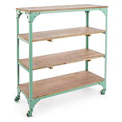 Bizzotto 0740157 Metal and wood library - green with wheels Gustav