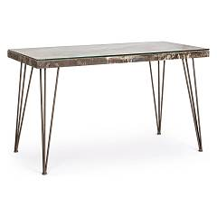 sale Bizzotto 0740250 - Atlantide Desk In Metal And Wood, L. 130 X 65
