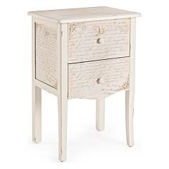 Bizzotto 0744560 2-drawer wooden bedside Words