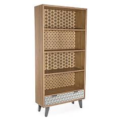 Bizzotto 0745278 Wood bookcase with 4 riapiani and 1 drawer Horizon