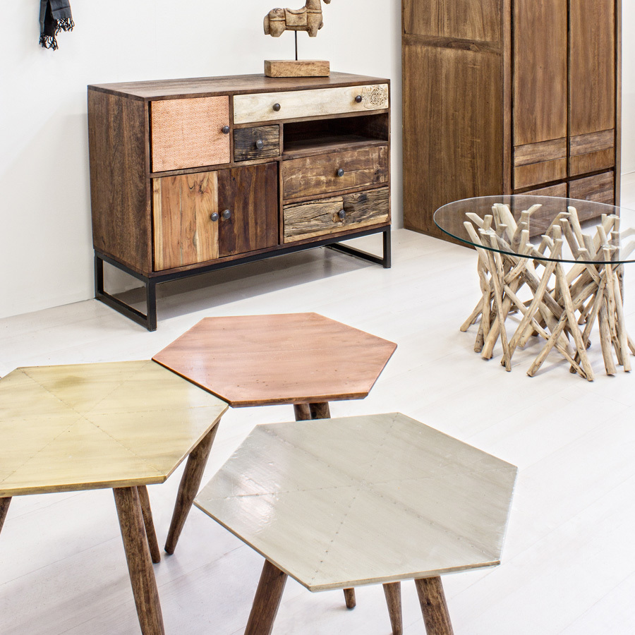 Photos 3: Bizzotto Wooden table with brass top 0745455