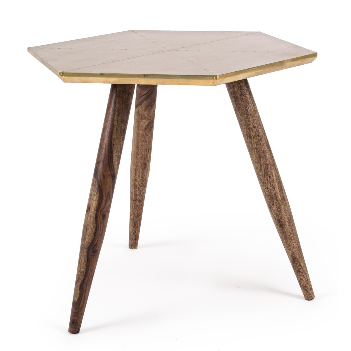 Photos 1: Bizzotto Wooden table with brass top 0745455