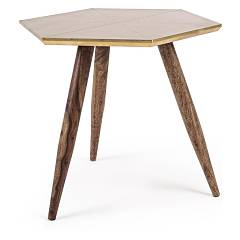 Bizzotto 0745455 Wooden table with brass top Gaspard
