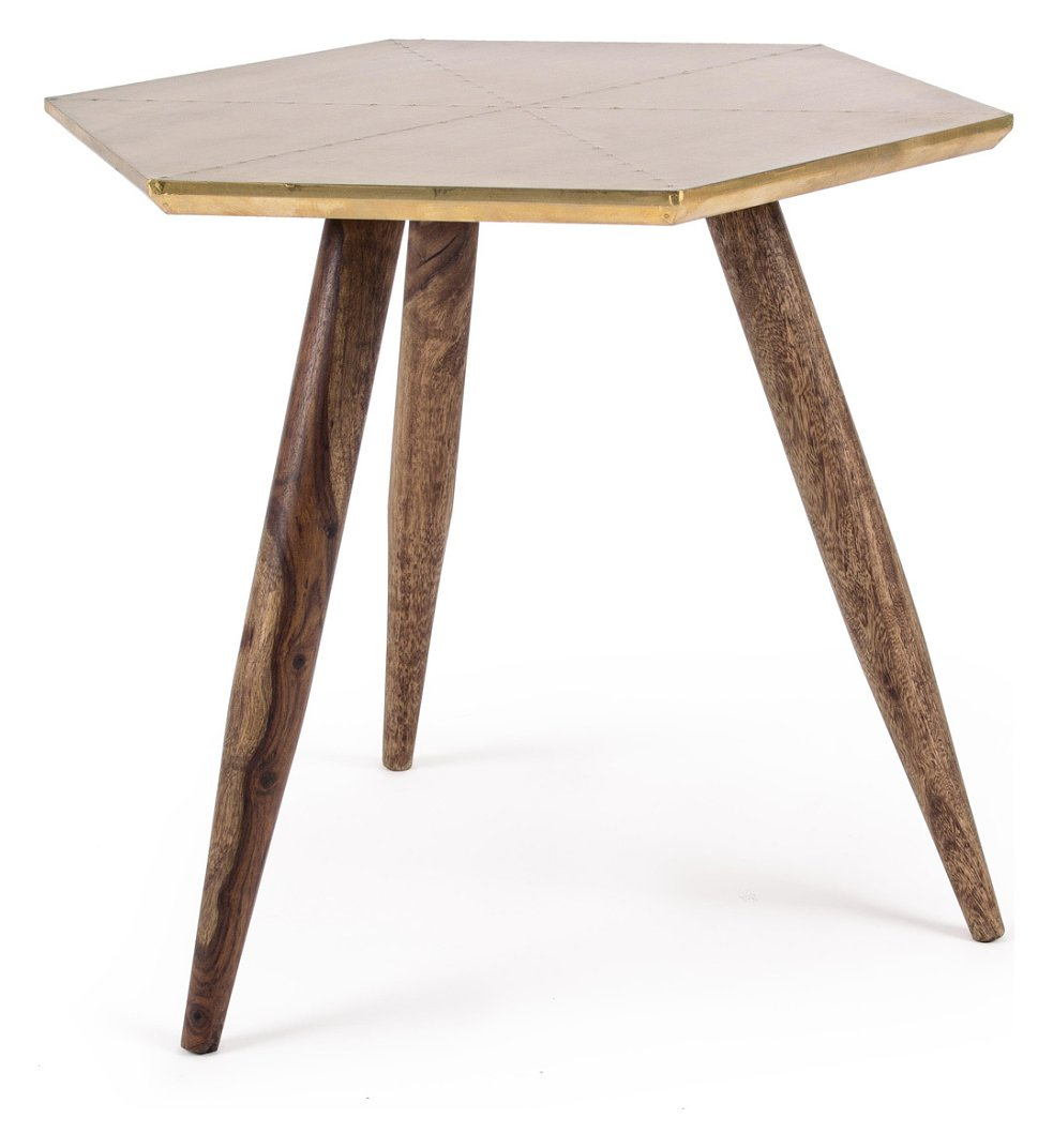 Photos 1: Bizzotto 0745455 Gaspard Wooden table with brass top