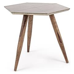 Bizzotto 0745456 Wooden table with metal floor Gaspard